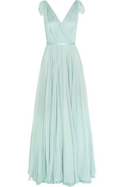 Gathered silk-chiffon gown