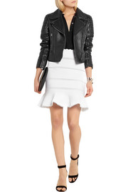Alexander McQueen Lace-paneled cotton-blend mini skirt