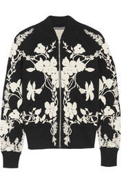 Floral-intarsia stretch-knit bomber jacket