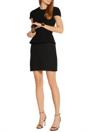 Alexander McQueen Wool-blend and cotton peplum mini dress