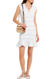 Pointelle-paneled ribbed cotton-blend mini dress