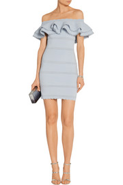Alexander McQueen Off-the-shoulder ruffled cotton-blend mini dress