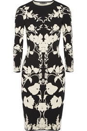 Cutout floral-intarsia stretch-knit dress
