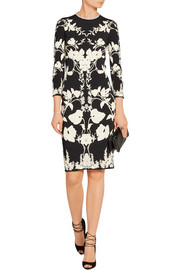 Alexander McQueen Cutout floral-intarsia stretch-knit dress