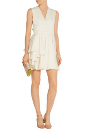 Pleated grain de poudre wool mini dress