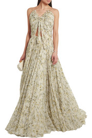 Alexander McQueen Pleated floral-print silk-chiffon gown