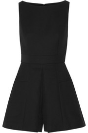 Pleated wool-blend scuba playsuit