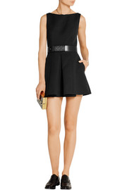 Alexander McQueen Pleated wool-blend scuba playsuit