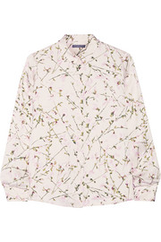Sweet Pea printed silk-satin shirt