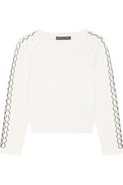 Cropped stretch pointelle-knit sweater