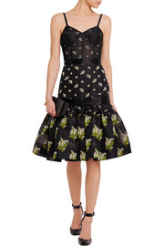 Alexander McQueen Satin-trimmed silk-blend jacquard and tulle dress