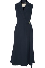 Belted wool and silk-blend twill wrap dress