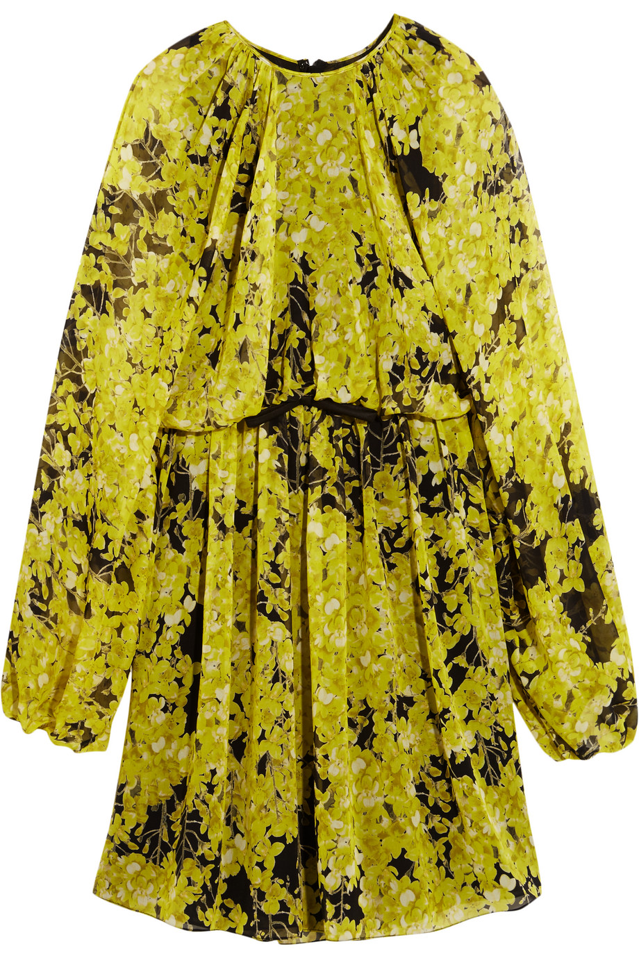 Floral-Print Silk-Chiffon Mini Dress, Giambattista Valli, Yellow, Women's - floral print, Size: 44