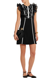 Giambattista Valli Lace and silk chiffon-paneled cotton-cady mini dress