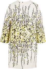 Floral-print cotton-jacquard coat