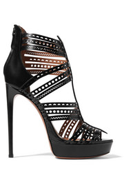 Laser-cut leather platform sandals