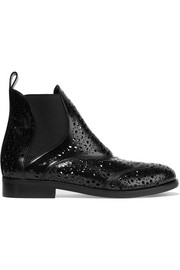 Alaïa Laser-cut glossed-leather Chelsea boots