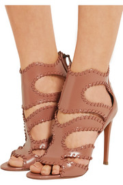 Cutout glossed-leather sandals