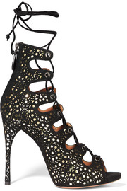 Laser-cut suede and metallic leather sandals