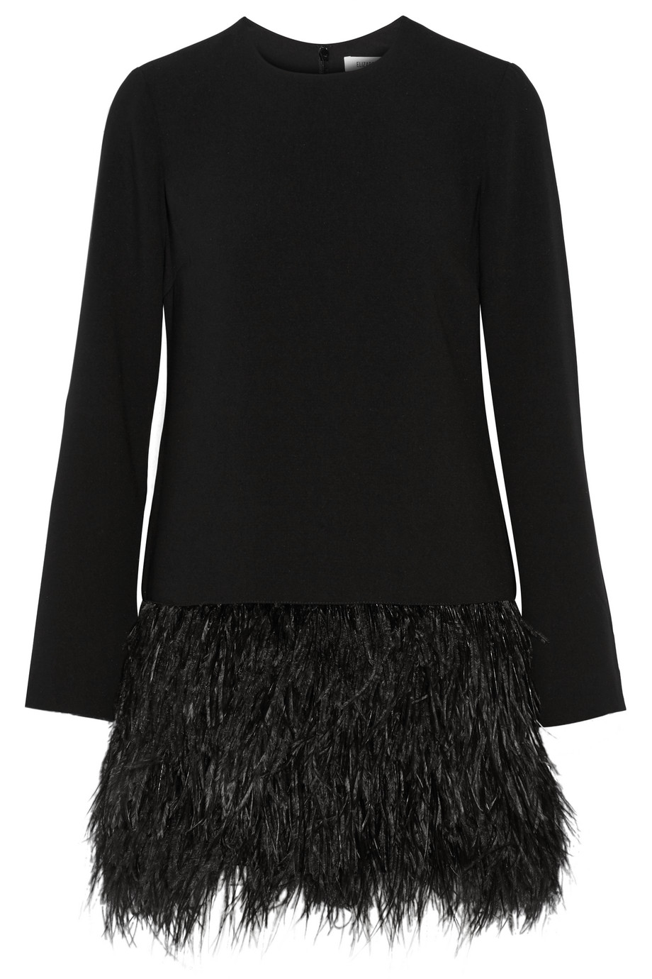 Elizabeth and James Serena Feather-Trimmed Cady Mini Dress, Black, Women's, Size: 8