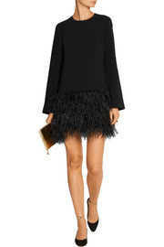 Elizabeth and James Serena feather-trimmed cady mini dress