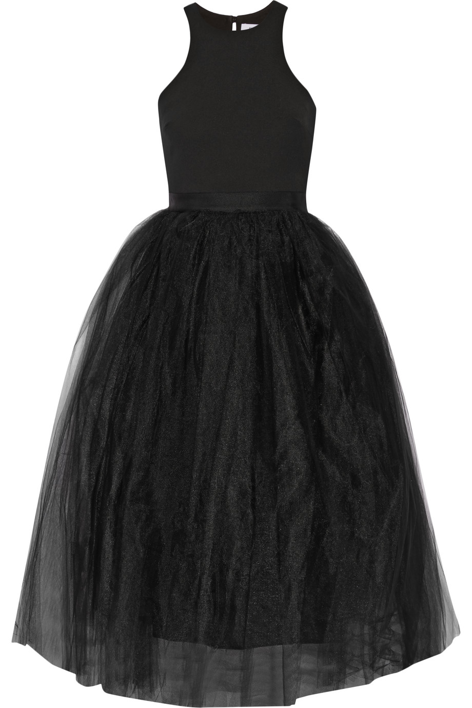 Elizabeth and James Aneko Stretch-Ponte and Tulle Midi Dress, Black, Women's, Size: 4