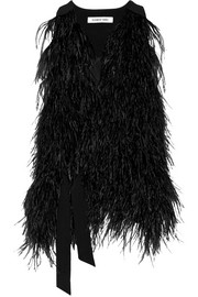 Elizabeth and James Xiomara feather-embellished crepe vest