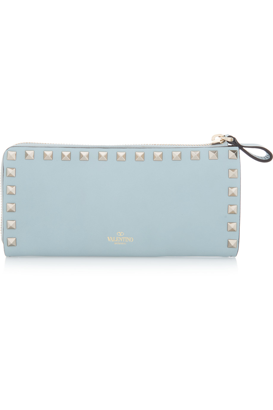 Valentino The Rockstud Leather Continental Wallet, Sky Blue, Women's