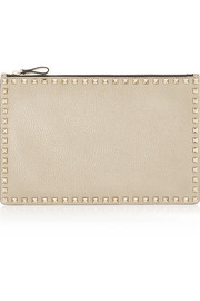 The Rockstud metallic textured-leather pouch