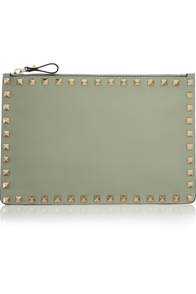 Valentino - The Rockstud Leather Pouch - Mint