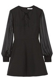 Elizabeth and James Leonela silk chiffon-trimmed stretch-cady mini dress