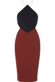 Elizabeth and James Riza cutout stretch-ponte halterneck dress