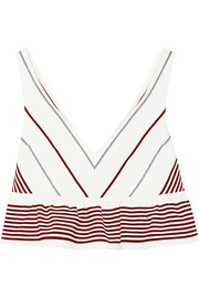 Elizabeth and James Annaline cropped striped crepe top