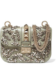 Lock embellished leather shoulder bag