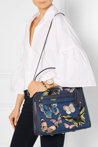 45e36ea23afc Valentino. My Rockstud embroidered denim and textured-leather tote.  2