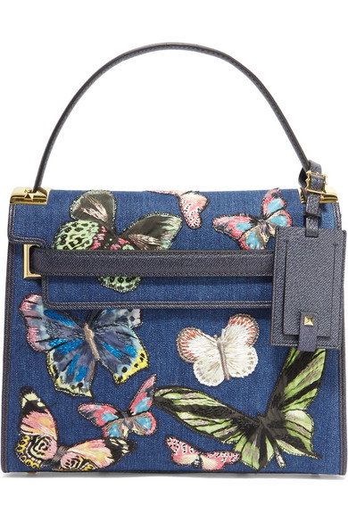 Valentino - My Rockstud Embroidered Denim And Textured-leather Tote - Mid denim