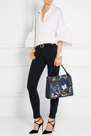 My Rockstud embroidered denim and textured-leather tote