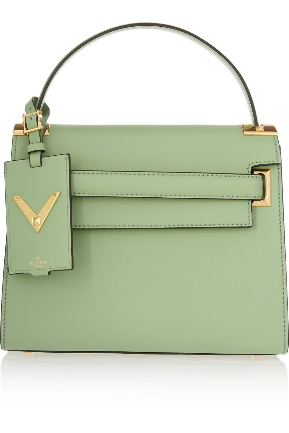 Valentino My Rockstud Leather Tote, Mint, Women's