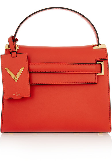 Valentino - My Rockstud Leather Tote - Coral