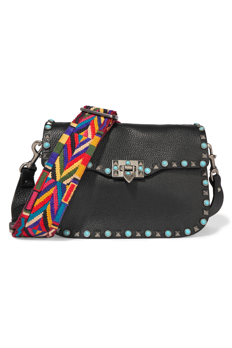 Valentino The Rockstud Embellished Textured-Leather Shoulder Bag, Black, Women's