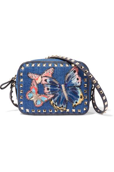 Valentino - The Rockstud Leather-trimmed Embroidered Denim Shoulder Bag - Mid denim