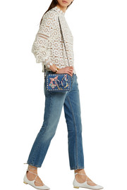 Valentino The Rockstud leather-trimmed embroidered denim shoulder bag