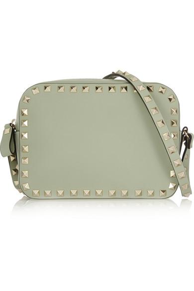 Valentino - The Rockstud Leather Shoulder Bag - Mint