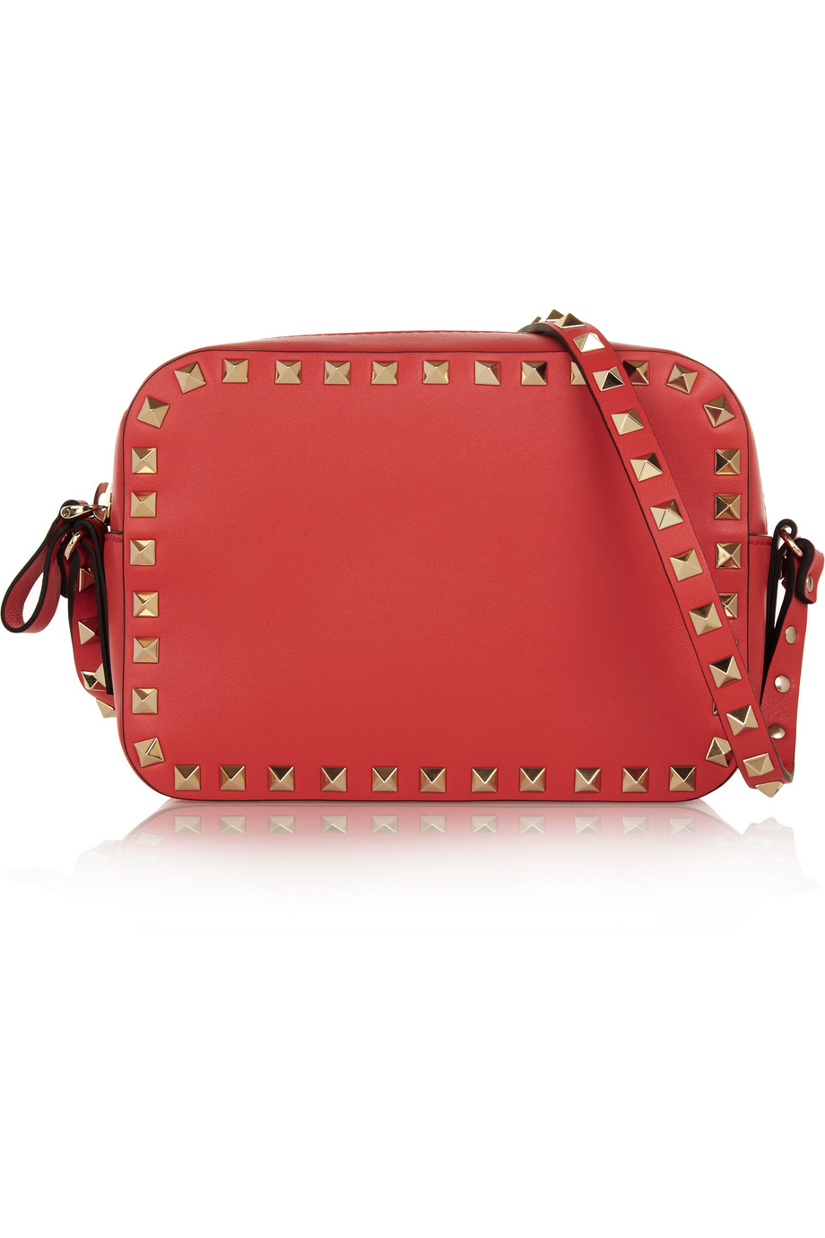 Valentino The Rockstud Leather Shoulder Bag, Coral, Women's, Size: One Size