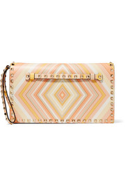 The Rockstud printed leather clutch