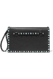 Valentino The Rockstud embellished textured-leather clutch