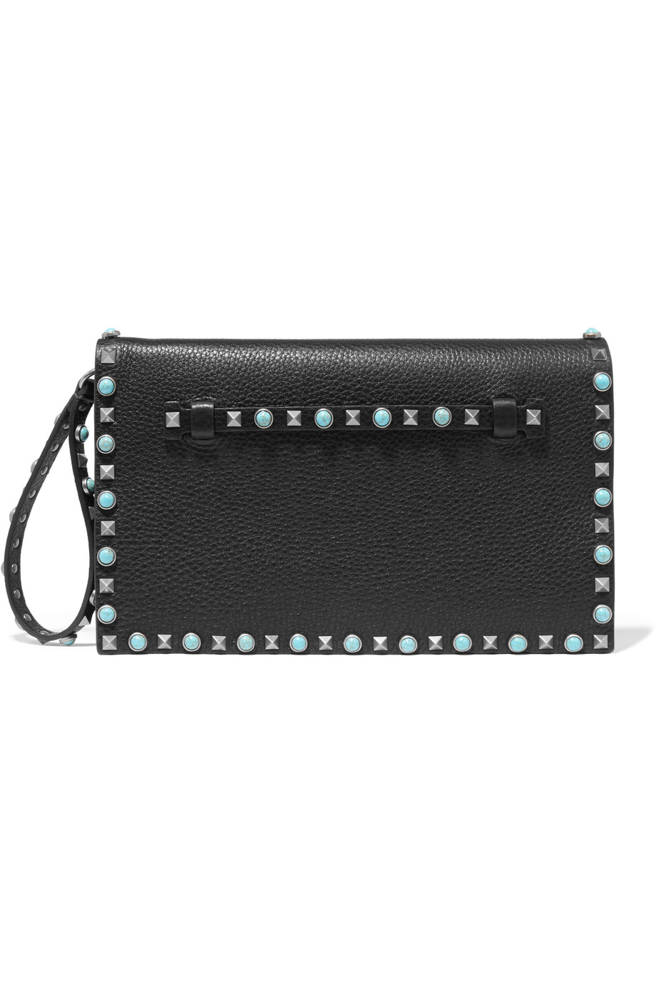 Valentino The Rockstud Embellished Textured-Leather Clutch, Black, Women's