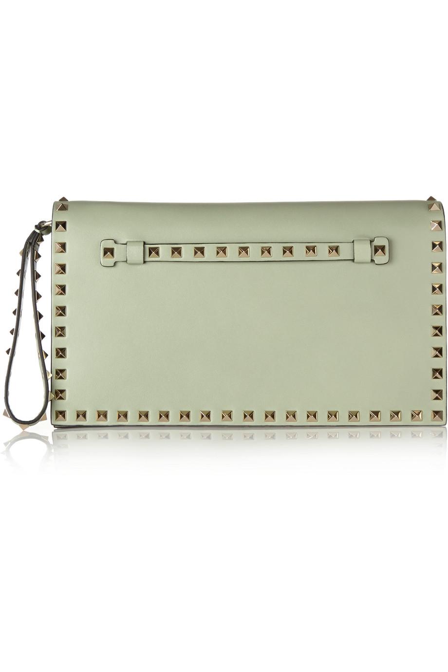 Valentino The Rockstud Leather Clutch, Mint, Women's