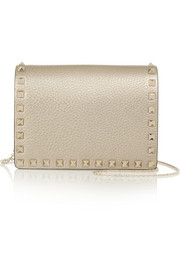 Valentino The Rockstud metallic leather shoulder bag