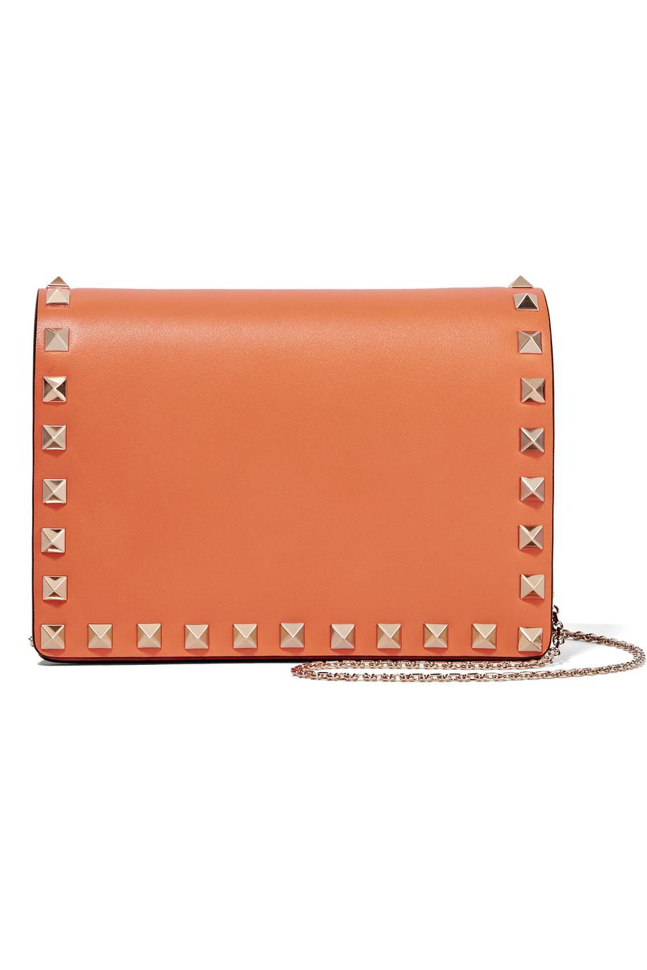 Valentino The Rockstud Leather Shoulder Bag, Orange, Women's